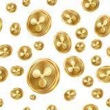 Sömlös modellvektor för krusning coins dollareuroguld Digital valuta Fintech Blockchain Isolerad bakgrund guld- finans royaltyfri illustrationer
