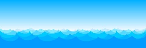 Sömlös modellvektor för vågor Blått för havhavsvatten - vektor royaltyfri illustrationer