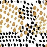 Sömlös moderiktig bloggbakgrund med handdrawn guld och svart in Arkivfoton