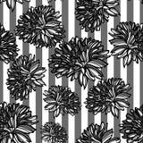 Sömlös monokrom blom- modell Vektor Illustrationer