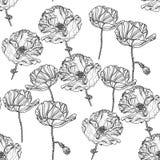Sömlös monokrom blom- modell med vallmoblommor Vektor Illustrationer