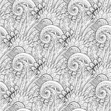 Sömlös monokrom blom- modell (vektorn) Royaltyfri Fotografi