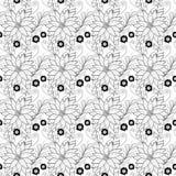 Sömlös monokrom blom- modell (vektorn) Arkivbilder