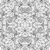 Sömlös monokrom blom- modell (vektorn) Royaltyfri Foto