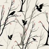 Sömlös monokrom modell för vektor med fåglar, ravens, Royaltyfri Fotografi