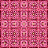 Sömlös mosaik av den geometriska prydnaden med rosa fyrkanter Royaltyfria Bilder
