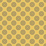 Sömlös mosaik för abstrakt bakgrund av koncentriska cirklar i diagonal ordning på guld- bakgrund retro design Arkivfoto