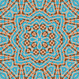 Sömlös mosaikkalejdoskopmodell i blå brunt royaltyfri illustrationer