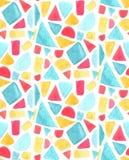 Sömlös mosaikmodell med vattenfärgtegelplattor Målat glassvektorbakgrund Apelsin blå och röd geometri för guling, royaltyfri illustrationer