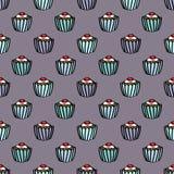 Sömlös muffinbakgrund Royaltyfri Fotografi