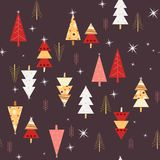 Sömlös natt Forest Trees Pattern stock illustrationer