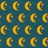 Sömlös nattbakgrund med månen och stjärnor Royaltyfri Fotografi