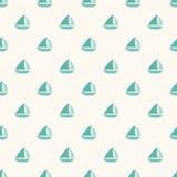 Sömlös nautisk modell med små blåa fartyg Royaltyfria Bilder