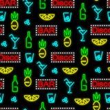 Sömlös neonmodell Nattklubb stång Direkt ordning av el stock illustrationer