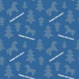 Sömlös Ny-år bakgrund med träd och hästar Royaltyfri Bild