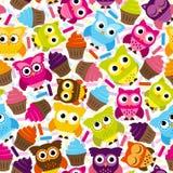 Sömlös och Tileable vektor Owl Background Pattern Arkivfoto