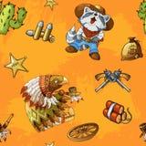 Sömlös orange bakgrundsmodell för västra rodeo med kulöra vektorbeståndsdelar stock illustrationer