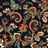 Sömlös Paisley bakgrund, blom- modell Färgrik dekorativ bakgrund royaltyfri illustrationer