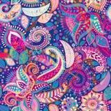 Sömlös Paisley bakgrund, blom- modell Färgrik dekorativ bakgrund vektor illustrationer