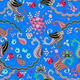 Sömlös paisley blom- modell på blå bakgrund i vektor Ros, kosmosblommor, tusensköna och sidor och fantasibutaprydnad stock illustrationer