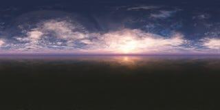 Sömlös panoramasolnedgång för 360 himmel stock illustrationer