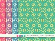 Sömlös pastellfärgad blomma för triangel för kors för bakgrundsuppsättningpolygon vektor illustrationer