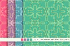 Sömlös pastellfärgad blomma T för ram för kors för kurva för bakgrundsuppsättningspiral royaltyfri illustrationer