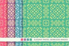 Sömlös pastellfärgad fyrkant L för blomma för kors för kurva för bakgrundsuppsättningrunda royaltyfri illustrationer
