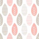 Sömlös pastellfärgad naturvektormodell Sidor med linjer och ris på vit bakgrund Hand dragen abstrakt vårprydnad stock illustrationer