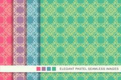 Sömlös pastellfärgad ram C för kurva för kors för kontroll för bakgrundsuppsättningpolygon royaltyfri illustrationer
