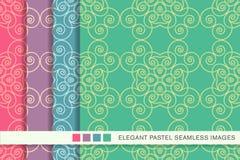 Sömlös pastellfärgad ram V för kors för kurva för spiral för bakgrundsuppsättningvirvel royaltyfri illustrationer