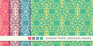 Sömlös pastellfärgad ram V för kors för kurva för virvel för bakgrundsuppsättningspiral stock illustrationer