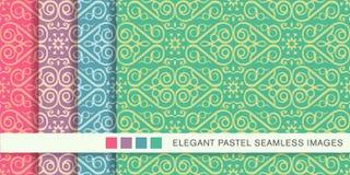 Sömlös pastellfärgad ram VI för kors för kurva för spiral för bakgrundsuppsättningkontroll stock illustrationer