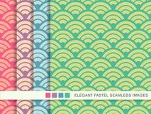 Sömlös pastellfärgad skala för kors för kurva för bakgrundsuppsättningrunda vektor illustrationer