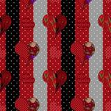 Sömlös patchworkmodell för abstrakt elegans med hjärtabackgro Royaltyfri Bild