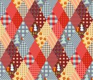 Sömlös patchworkmodell för jul Royaltyfri Foto