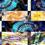 Sömlös patchworkmodell för vattenfärg Royaltyfria Bilder