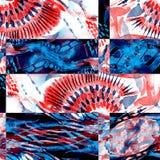 Sömlös patchworkmodell för vattenfärg Arkivbild