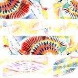Sömlös patchworkmodell för vattenfärg Royaltyfri Foto