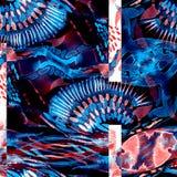 Sömlös patchworkmodell för vattenfärg Royaltyfria Foton