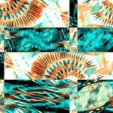 Sömlös patchworkmodell för vattenfärg Royaltyfri Fotografi