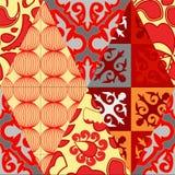 Sömlös patchworkmodell för vektor orientalisk eller ryssdesign Royaltyfri Foto