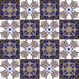 Sömlös patchworkmodell från marockanska, portugistegelplattor i blått och bruntfärger fotografering för bildbyråer