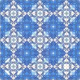 Sömlös patchworkmodell från marockanskt, portugistegelplattor i blåa färger arkivfoton