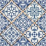 Sömlös patchworkmodell, marockanska tegelplattor royaltyfri illustrationer