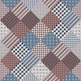 Sömlös patchworkmodell Vektorillustration av täcket i mörka signaler vektor illustrationer