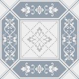 Sömlös patchworktegelplatta med den damast modellen stock illustrationer