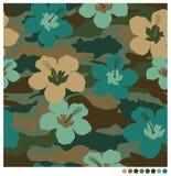 Sömlös patterm för hibiskusblomma stock illustrationer