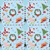 Sömlös pattern_3_for-jul och nya år tema i stylen royaltyfri illustrationer