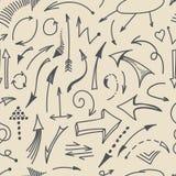 Sömlös patternt för handteckningspilar vektor Royaltyfri Illustrationer